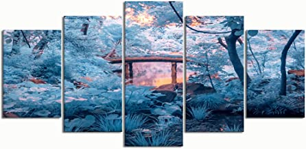 PENGTU Paintings Modern Canvas Painting Wall Art Pictures 5 Pieces, Taken rikugien Park Tokyo Japan Extended,Wall Decor HD Printed Posters Frame