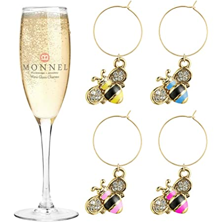 P415 Cute Crystal Pink Cake Cupcake Wine Charms Glass Marker for Party with Velvet Bag Set of 4