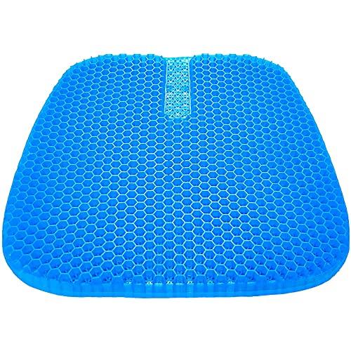 tomight Gel Sitzkissen Orthopädisch Gelkissen Atmungsaktiv,Ergonomisches Sitzkissen 45x42cm mit innovativer Honigwaben Gel Konstruktion für Auto, Büro- & Rollstuhl blau