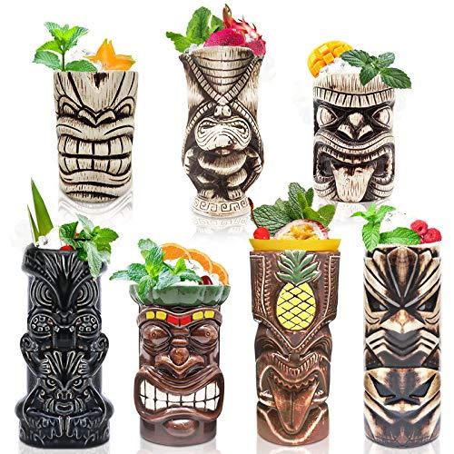 Tiki Becher Cocktail-Set von 7 – Becher, Keramik, hawaiianische Luau-Party-Tassen, Drinkware, niedliche, exotische Cocktailgläser, Tiki-Bar, professionelle Hawaii-Party-Barware, TKSET0017 (7 Stück)