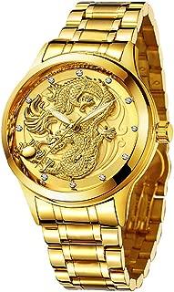 Udaney -Mens-Gold-Dragon-Watches-Golden Business Casual Quartz Wristwatch Stainless Steel Strap Best Gift for Father Husband Boyfriend