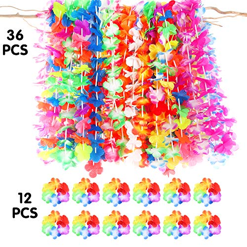 Luau party supplies-36ct tropical hawaiian luau flower leis +12ct luau lei bracelets,hawaiian luau party decorations party favors