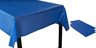 Juvale Royal Blue Plastic Tablecloth - 3-Pack 54 x 108-Inch Rectangle Disposable Graduation Table Cover, Fits up to 8-Foot Tables, Grad Party Decoration Supplies, 4.5 x 9 Feet
