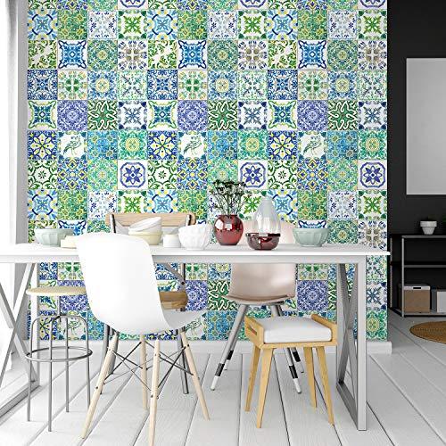 Walplus extraíble Autoadhesivo Arte Mural ADHESIVOS VINILO DECORACIÓN HOGAR BRICOLAJE Living Cocina Dormitorio Decor papel pintado de TURQUÍA azul y verde Azulejo Mosaico pared 48 piezas 15cm x