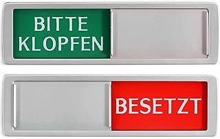 Gelieve kloppen - BEETZT schild XL - Met schuif - vrij - bezet schuifborden - kleefbord - 17,5 x 5 x 0,7 cm - Montage: 3M ...