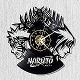 Menddy Anime Naruto Vinyl Record Orologio da Parete LED Luminoso Nostalgico Silhouette Record Art Handmade Camera da Letto DecorNo LED Light 12 Pollici