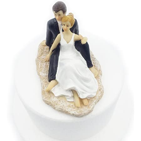 E-muse Se Prélasser sur la Plage Figurine pour Gâteau de Mariage Couple de Mariés, 5,5 Pouces de Hauteur
