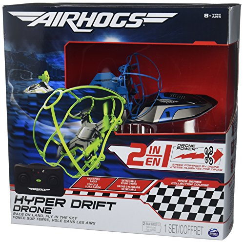 Air Hogs 2-in-1 Hyper Drift Drone for High Speed Racing and Flying - Blue