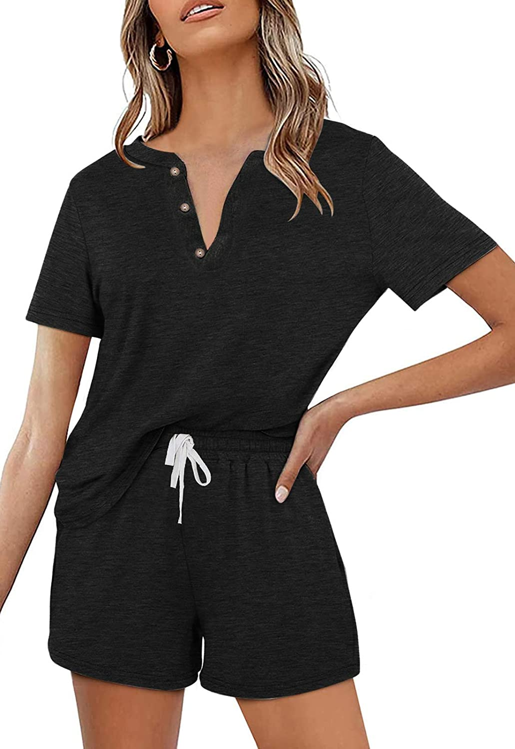 Women's 2 Piece Pajama Set Short Sleeve Henley Tops and Drawstring Shorts Sleepwear Loungewear Outfits with Pocket