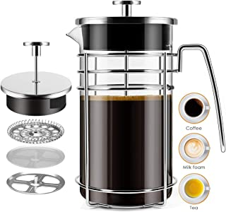 French Press Coffee Maker, (8 Cups/ 34 oz) Durable Easy Clean Coffee Pot Heat Resistant Borosilicate Glass - 100% BPA Free