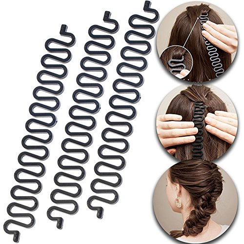 3 Pcs Hair Braiding Tool Roller Wit…