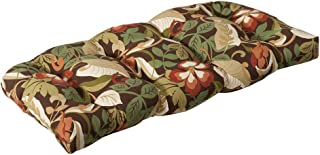 Pillow Perfect Indoor/Outdoor Brown/Green Tropical Wicker Loveseat Cushion