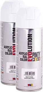 Fast Dry, Low Odor, Low VOC - Acrylic Spray Paint Pintyplus Evolution - Pack of 2 (Matt Pure White)