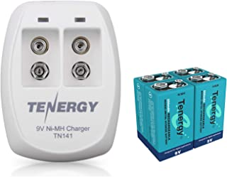 Tenergy9V BatteryRechargeable 250mAh 4PCSNiMH Square Batterywith 2 Bay9V Battery Chargerfor Smoke Alarm/Detector