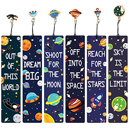 12 Pcs Space Theme Bookmarks with Metal Charms, Inspirational Quotes Bookmarker for Men and Women, Excellent Party Favors School Classroom Prize Reading Rewards, Gifts for Kids Boys Girls Adults