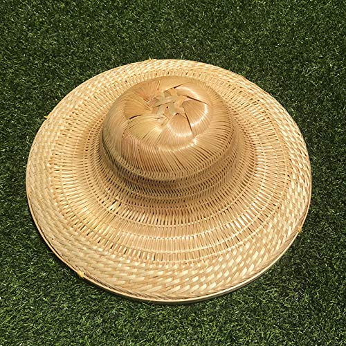 Visoren voor dames en heren, regenbestendig, grote ronde zonneklep, bamboehoed Vietnam-hoed van de hoed in de open lucht, decoratieve lampenkap van handgemaakte bamboe-werk-kappen-vishoed