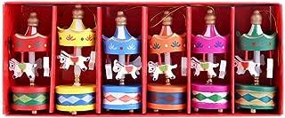 DHmart 6 pcs/lot Wooden Merry-Go-Round Carousel Music Box s ren Girls Christmas Birthday Gift Toy Wedding Decoration