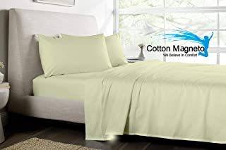 Cotton Magneto Sheet Set 800-TC Super Soft Luxury Crafted 100% Organic Cotton 4-Piece Ivory Solid Emperor Size 84x84 inch, Fits Mattress Up to 19 inches Deep Pocket