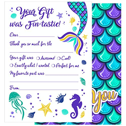 25 Kids Mermaid Thank You Cards - These Cute Under the Sea Fill In Thank You Note Cards with Envelopes (5x7 Inches) are a Great Way to Teach Children to Show Their Thanks