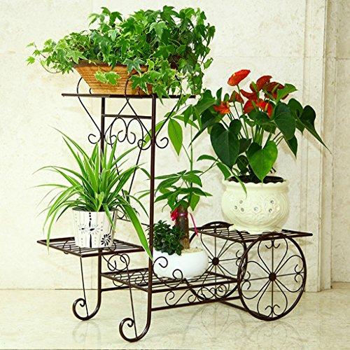 GFL Planteau en Pot à Fleurs en Bois Couches Multiples Porte-Fleurs Porte-Objets en métal décoratifBalcony Pots de Fleurs au Sol Shel Fmulti-Color en Option (Couleur : Bronze, Taille : 70 * 76cm)