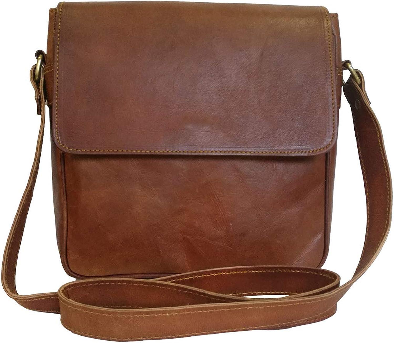 Mad Over Shopping, Womens Crossbody Saddle Bag Vintage Style Genuine Handmade Leather Brown Messenger Shoulder Purse