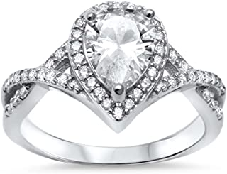 Oxford Diamond Co Sterling Silver Pear Cubic Zirconia Solitaire Engagement Ring Sizes 5-10