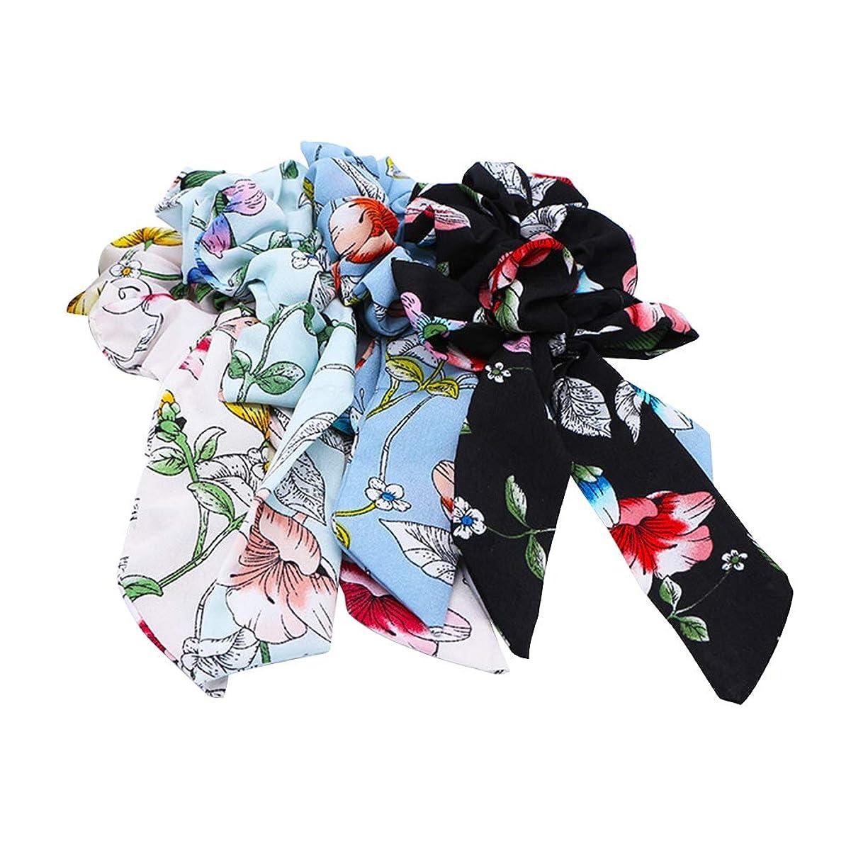血統セッションカーテンLURROSE 4個プリントストレッチヘアネクタイ弾性布アートヘアロープポニーテールホルダー女性用ヘアアクセサリー(ホワイト、ブラック、ライトブルー、ブルー、各1個)