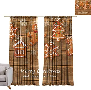 Andrea Sam Sheer Curtains Gingerbread Man,Funny Watercolor Cookies on Wooden Boards Delicious Xmas Pastry,Brown Orange White W108 x L84 inch,Machine Washable