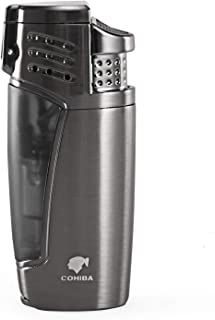 Cigar Lighter, Triple 3 Jet Flame Refillable Butane Torch Lighter with Punch