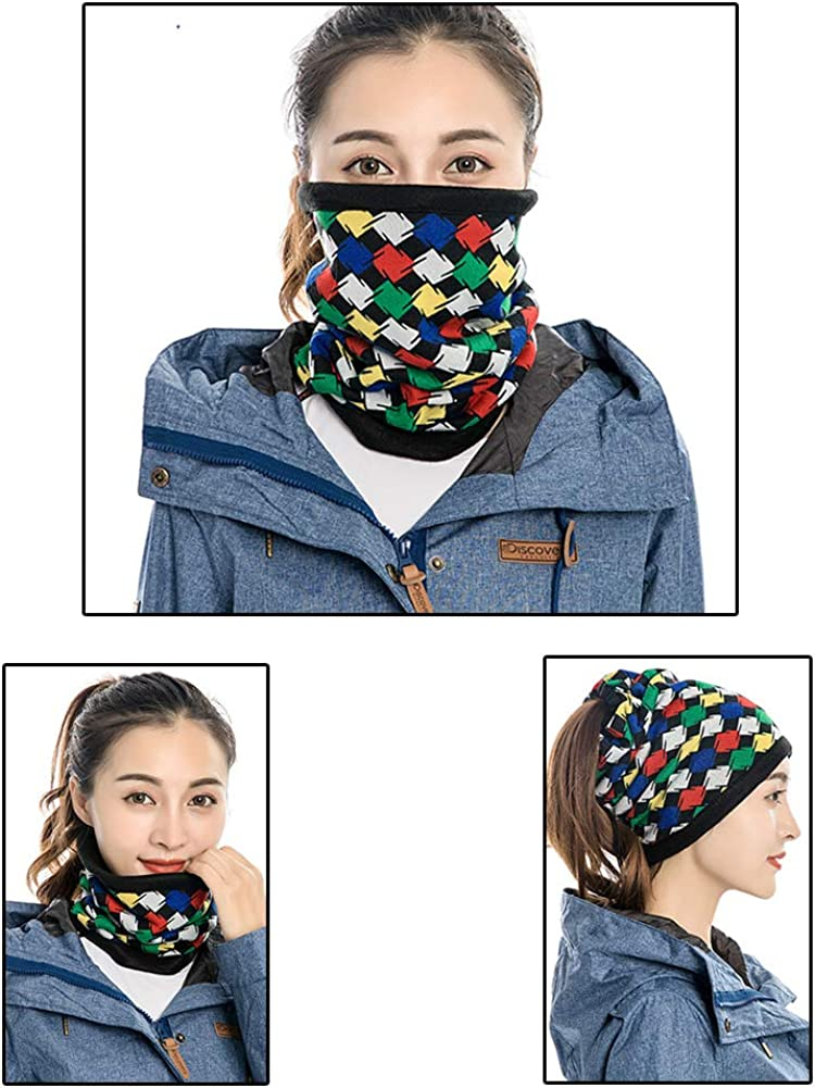 Winter Unisex Thermal Fleece Neck Gaiter Warmer Tube,Windproof Face Mask Cover for Cold Weather 4 Pack