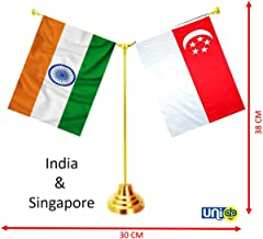 UNIq International Countries Miniature Double Sided Flags Made of 100% Special Silk Fabric (Warp-Knitted Polyester) with Y-Shape Classy Brass Base Flag Table Stand (India - Singapore)