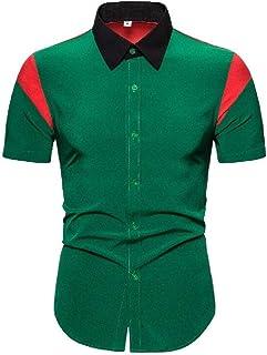 Abeaicoc Men Sleeve Short Button Summer Stylish Up Color Block Dress Work Shirt