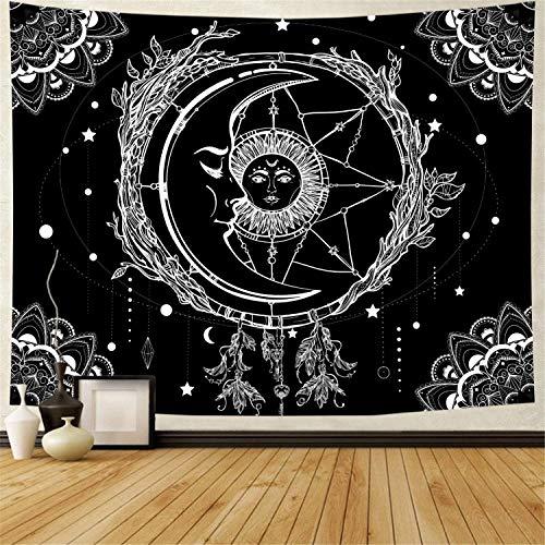 Dremisland Mond und Sonne Wandteppich Psychedelic Mandala Tuch Wandtuch Wandteppich Schwarz und Weiß Traumfänger Tapisserie Wandbehang für Schlafzimmer Wohnzimmer (Sonne, L / 148x200cm)