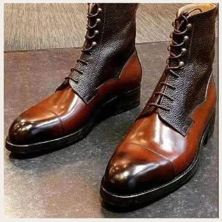 GJHYJK Bottes Martin pour Hommes Bottes Western Cowboy Knight pour Hommes Coutures en Cuir À Lacets Talon Épais Mode Casua...