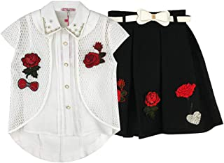 Girls Short Sleeve Outfits Causal Cute Summer 3Pc Embroidered Net Coat +Shirt+ Net Skirt Set 6-12T
