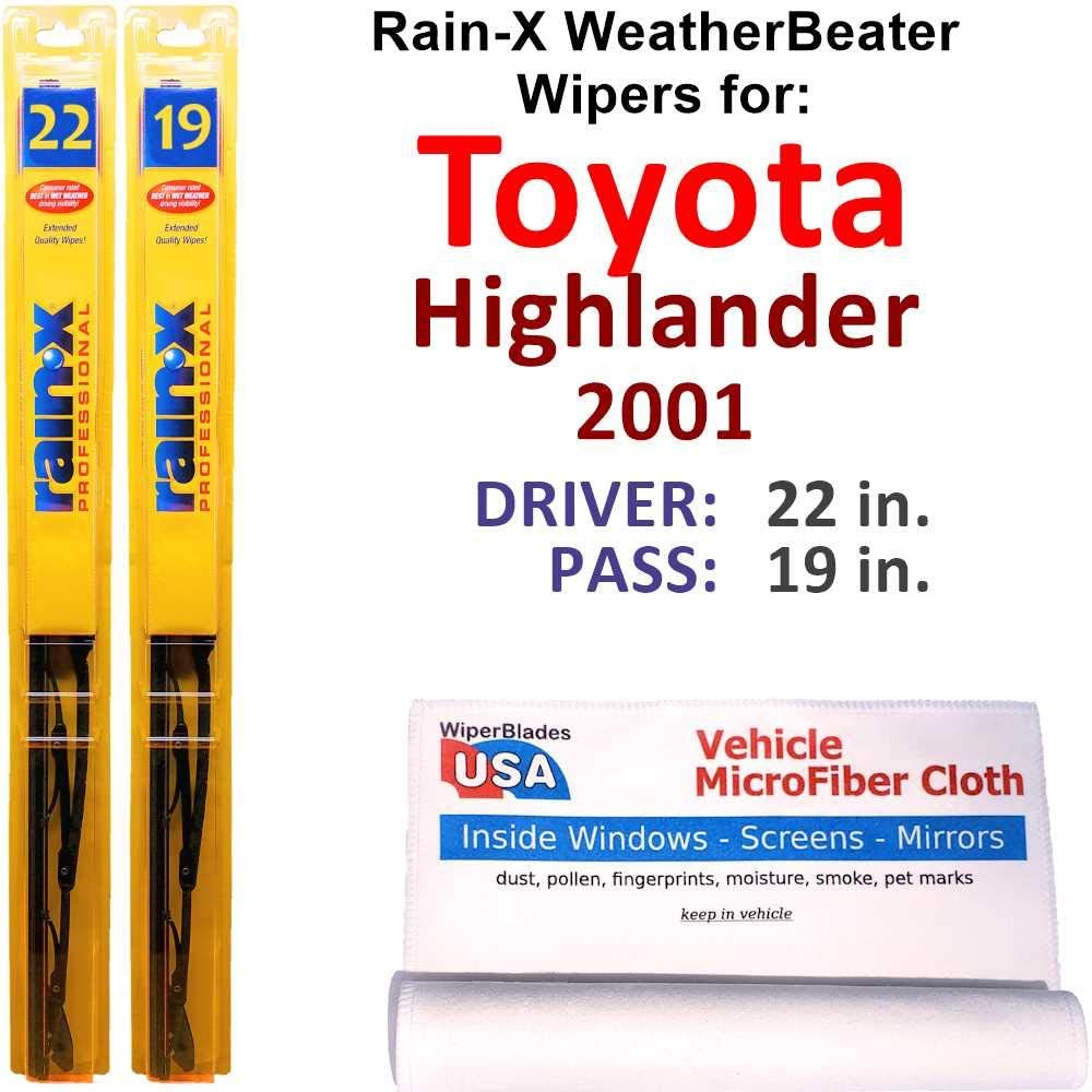 Rain-X WeatherBeater Wiper Blades for Today's only Highlander Toyota Outlet ☆ Free Shipping Set 2001