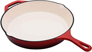 Hamilton Beach 12 Inch Enameled Coated Solid Cast Iron Frying Pan, Red(Open Box)