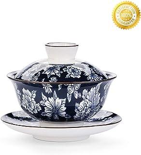 ティーカップセット QMFIVE 中国伝統茶器 青と白磁 ガイワン 青釉薬 カンフー ティーボウル 蓋とソーサー付き 5.6オンス/160ml ブルー