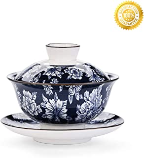Teacups set,QMFIVE,Chinese Traditional Teaware Blue and White Porcelain Gaiwan Blue Glaze Kungfu Tea bowl with Lid and Saucer - 5.6oz/160ml