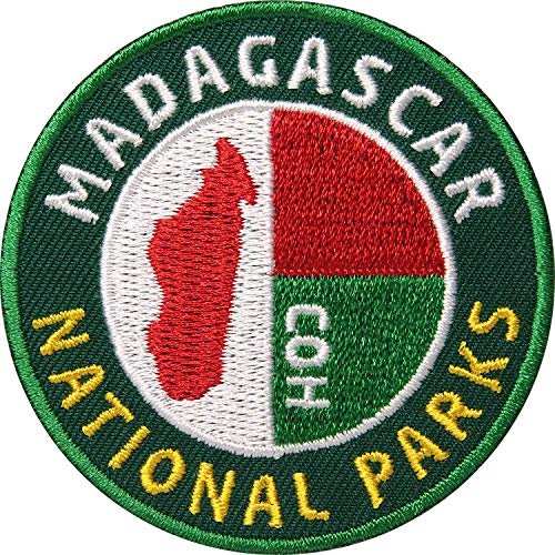2 x Madagaskar Aufnäher gestickt 62 mm Grün r& / Madagascar Flagge Nationalpark Afrika Insel / Patch zum Aufnähen Aufbügeln auf Jacke Kleidung / Patches Aufbügler Flicken Bügelflicken Reiseführer