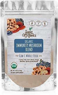 Super Organics Immunity Mushroom Blend | Turkey Tail, Lion's Mane, Chaga & More | Organic Superfood Powder | Raw Superfood...