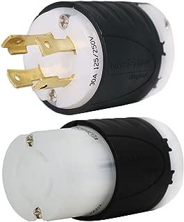 L14-30 Generator Plug and Connector Set, L14-30P + L14-30R, 30A, 125/250V, 4-Prong for 7500W Generators - Iron Box # IBX-L1430PR