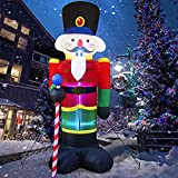 Soldado inflable de Navidad, decoraciones para exteriores, iluminado, inflable, soldado de Papá Noel, decoraciones explosivas para jardín, césped, decoración de jardín