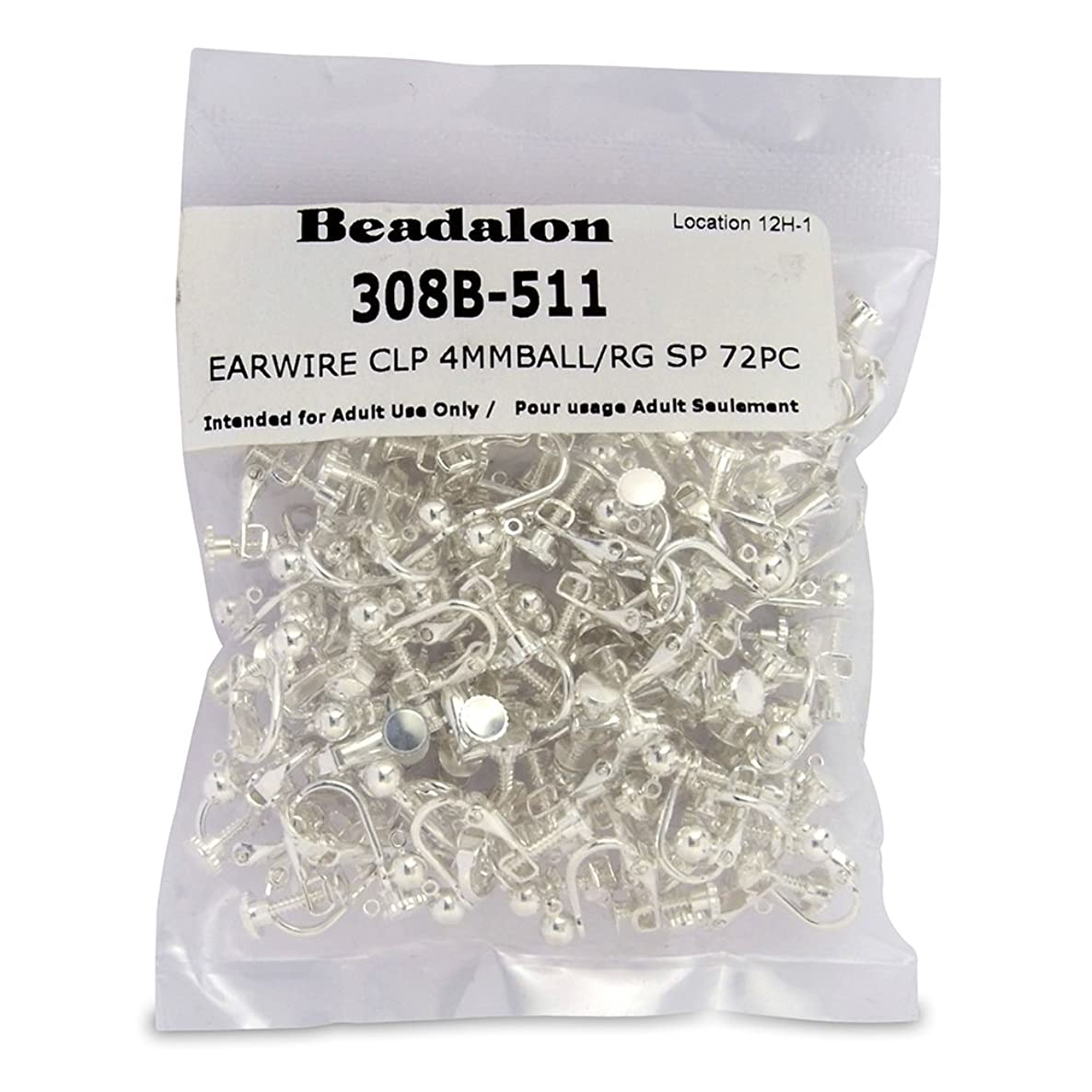 Artistic Wire Beadalon 72-Piece 4-MM Ball With Ring Ear Clip, Nickel Free Silver Plate