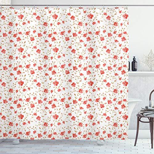 ABAKUHAUS Flor Cortina de Baño, Peony Flores Blooms, Material Resistente al Agua Durable Estampa Digital, 175 x 180 cm, Oscuro Coral Blanco