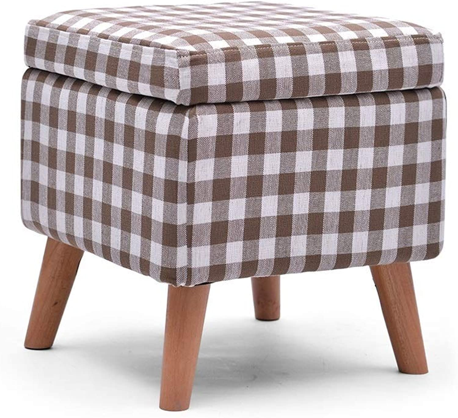 ZH STOOLS Sofa Stool, Solid Wood Square Small Bench Handmade Cotton Linen Multifunction Ergonomics Change shoes Stool for Living Room Entrance (color   Lattice, Size   Storage Stool)