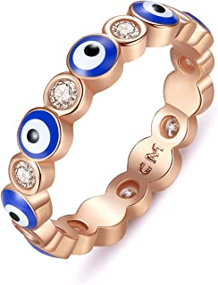 Puerzi Evil Eye Ring,Rose Gold Plated Ring Suitable for Women Girls,Size 6 to 10