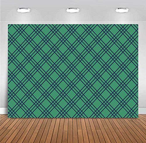 Green Grid Photography Backdrop Golf Par-Tee Time Birthday Party Supplies Checkered Photo Background Retirement Party Selfie Photo Booth Studio Props Decoration Vinyl 5x3ft Wallpaper Picture Banner