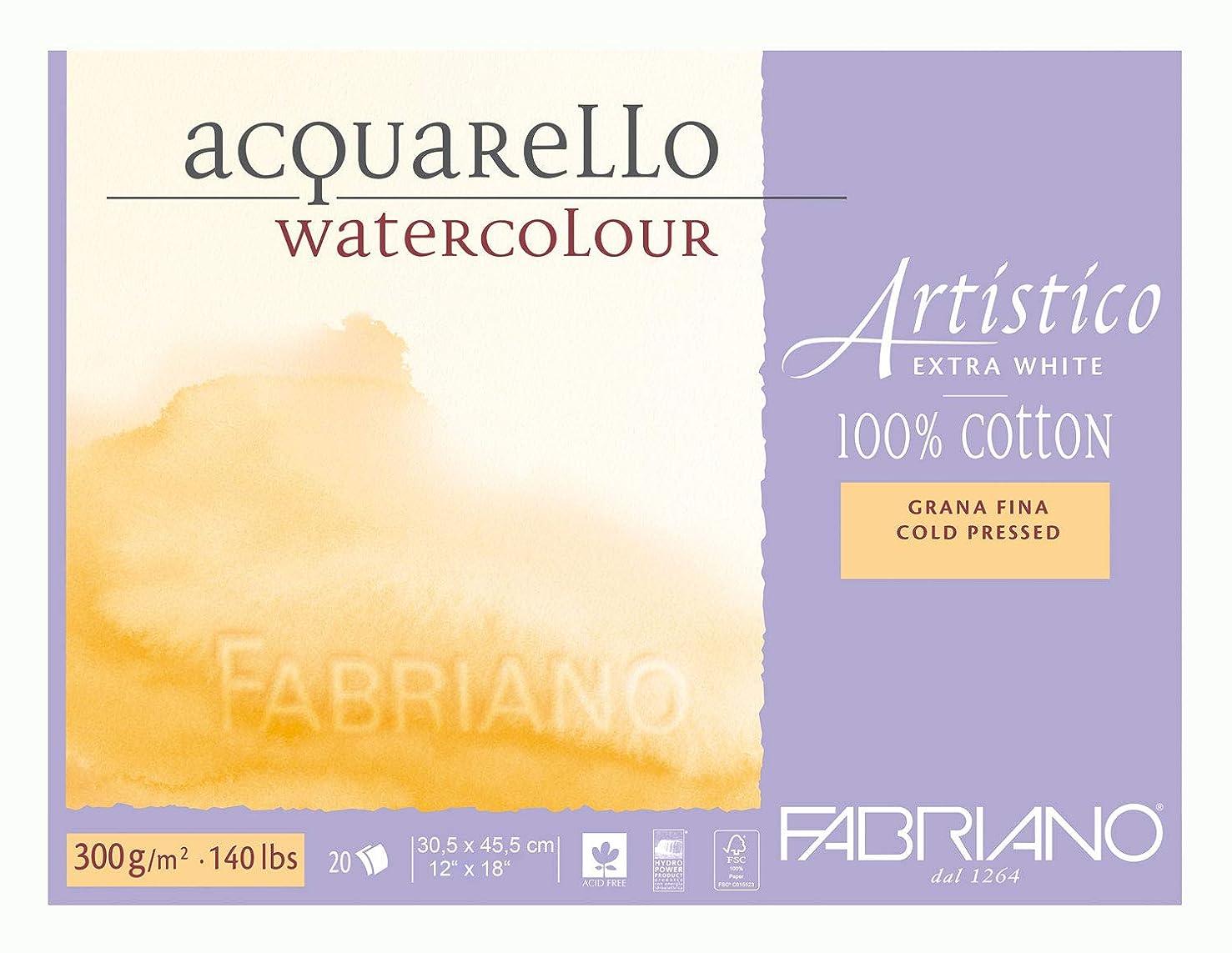 Fabriano Artistico 140 lb. Cold Press 20 Sheet Block 12x18 - Extra White