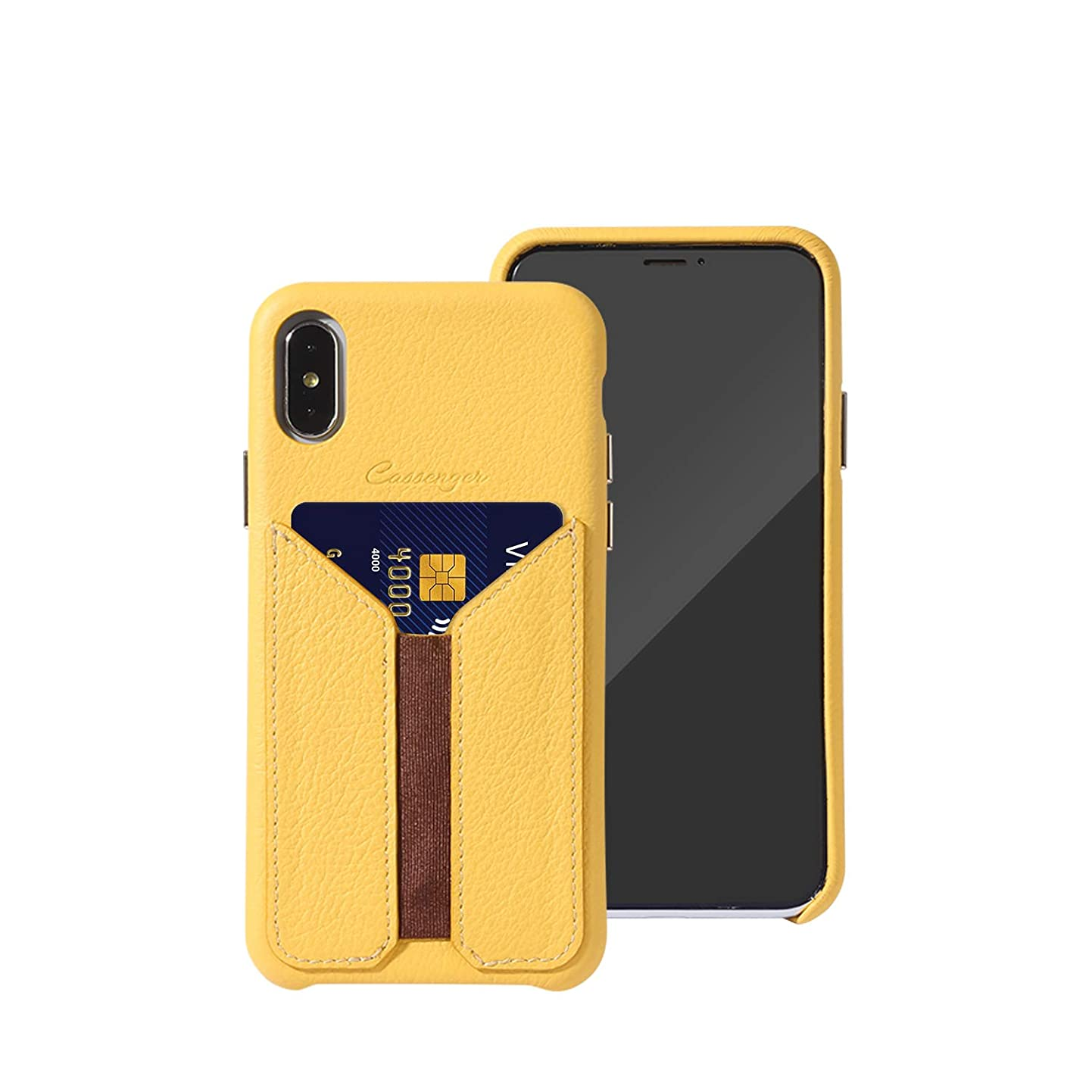 Cassenger Slim Fit Genuine Italian Leather with Card Slot Holder Wallet Case Compatible with iPhone XR-Yellow mcrjhygkbmz1